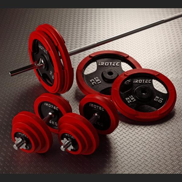 バーベルセット [IROTEC バーベル ダンベル 100kg セット ラバーリング]ベンチプレス トレーニング器具 パワーラック 筋力トレーニング|super-sports