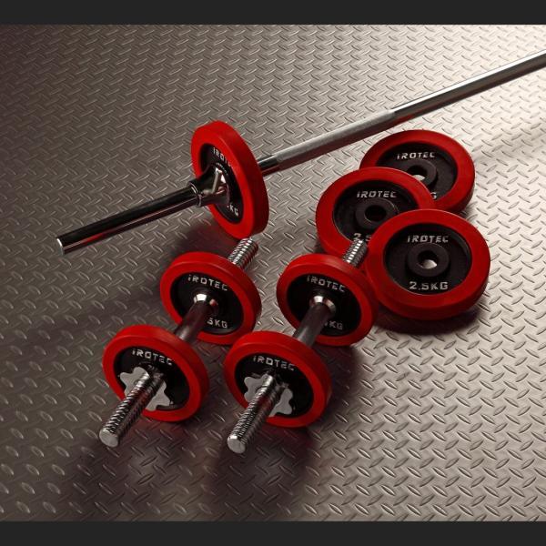 バーベルセット [IROTEC バーベル ダンベル 30kg セット ラバーリング]ベンチプレス 筋トレ トレーニング器具 トレーニングマシン  筋力トレーニング|super-sports