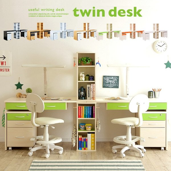 学習机 ツイン 白 勉強机 学習デスク twin desk(ツインデスク) 7色対応 superkagu