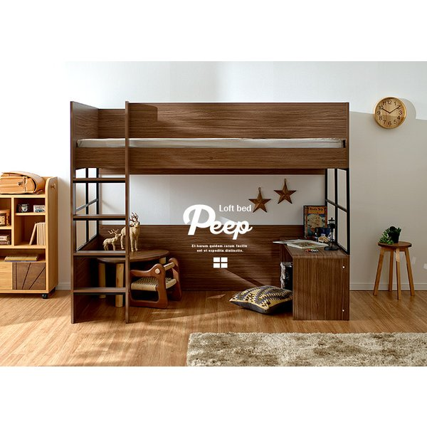 ハイタイプ ロフトベッド システムベッド 学習机 デスクベッド システムベッドデスク ロフトベット Peep(ピープ) 5色対応|superkagu|19