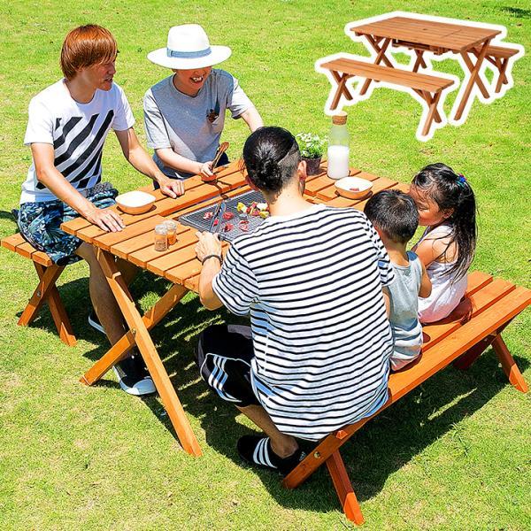 ガーデンテーブルセット 3点セット バーベキュー 木製 ガーデンテーブル ガーデンベンチ 杉材BBQテーブル&ベンチセット