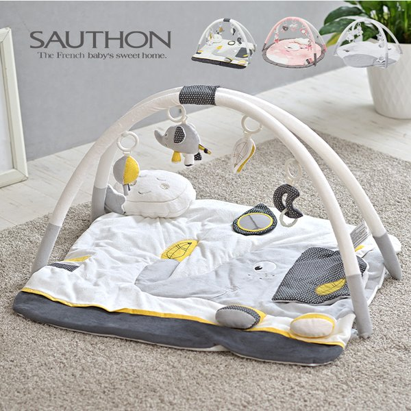 ベビー 赤ちゃん おしゃれ 知育玩具 おもちゃ 海外プレイマット プレイジム ベビージム SAUTHON(ソトン) プレイマット おもちゃ付き/音が鳴る仕組み/洗濯可能
