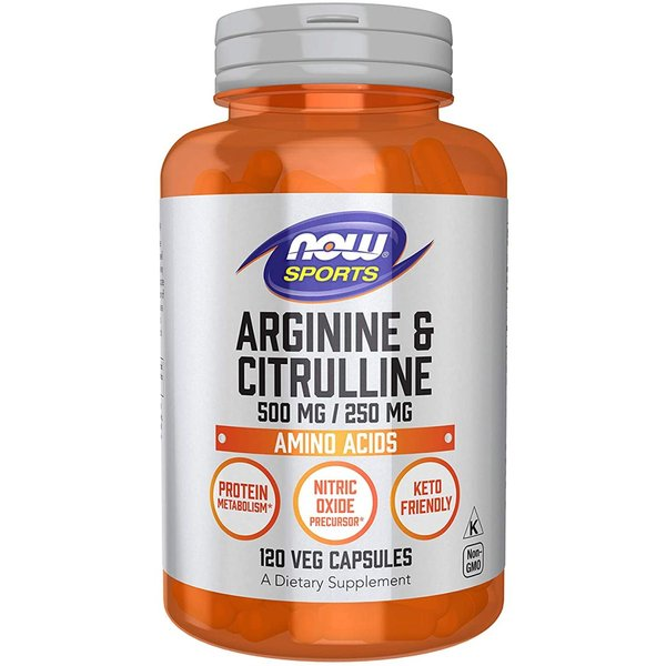 ナウスポーツ アルギニン500mg&シトルリン250mg 120粒 NOW SPORTS L-Arginine 500mg & Citrulline 250mg 120CAP NOW FOODS|supla