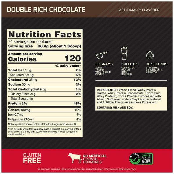 ゴールドスタンダード 100% ホエイプロテイン ダブルリッチチョコレート 5ポンド(2.27kg) Optimum Nutrition|supplefactory|02