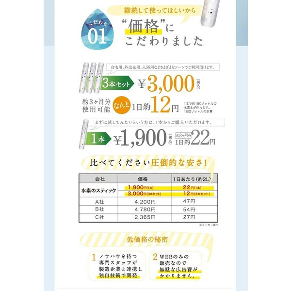水素スティック10本入り1本あたり800円 1本約3か月使用可 送料無料 水素水 水素水生成器  水素水 スティック|supplemarche|12