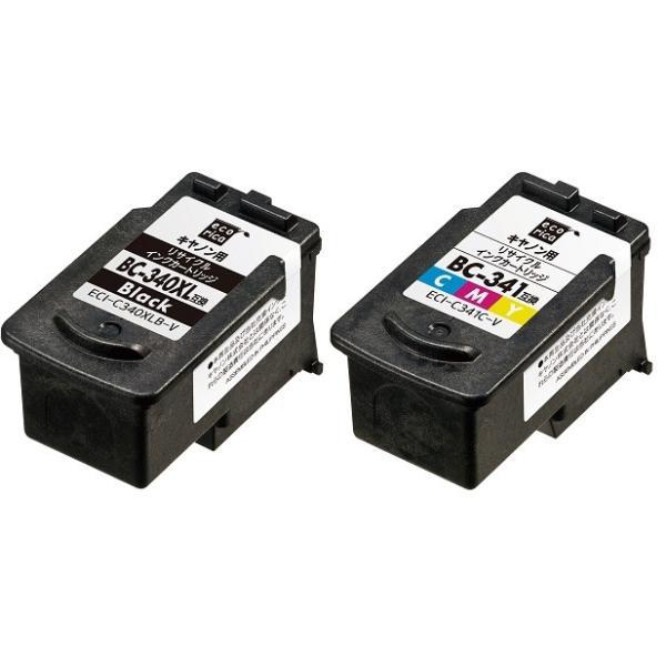 BC-340XL ブラック大容量 BC-341 カラー標準 エコリカ リサイクルインク 2個セット ECI-C340XLB-V ECI-C341C-V 各1個