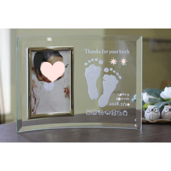 フォトフレーム ガラス 名入れ 記念日 彫刻 レリーフ 命名 出産祝い 手形 足型 誕生 花 写真立て 出産内祝 初節句 出産お祝い 誕生お祝い|supreme-mama|04