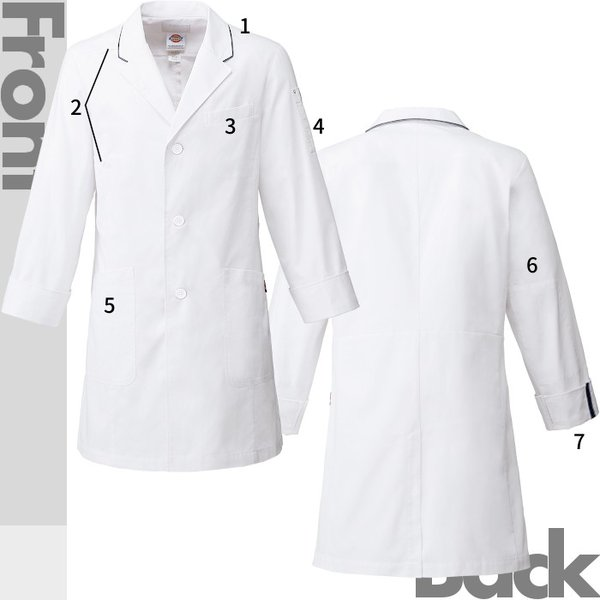 白衣 医療用 1538PP メンズシングルコート ディッキーズ|suzukiseni|03