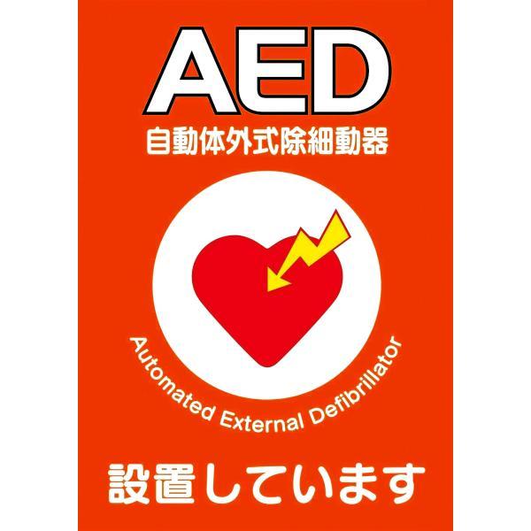 AED設置シール A5版 両面印刷 1枚  ステッカー Y267B suzumori