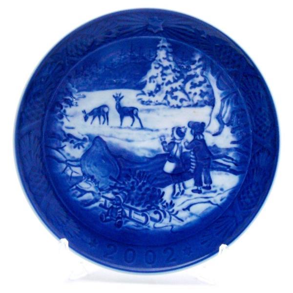 ロイヤルコペンハーゲン Royal Copenhagen イヤープレート Winter in the forest 2002年版 / 平成14年 箱、説明書付 swan-antiques