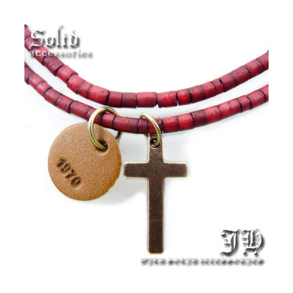 送料無料 アンクレット クロス ブラウンウッドビーズ ゴールド茶 十字架 ロザリオ メンズ 男性用 ペア ブレス ank32 おしゃれ