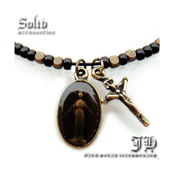 送料無料 アンクレット ゴールド マリアメダイクロス 十字架 ロザリオ ジーザス レディース 女性用 ペア ブレス ank39 おしゃれ