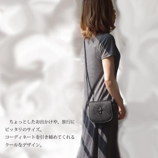 クロス 斜めがけ ショルダーバッグ ブラック PU レザー クロム スタッズ 2000円 ポッキリ|swasuwa|03