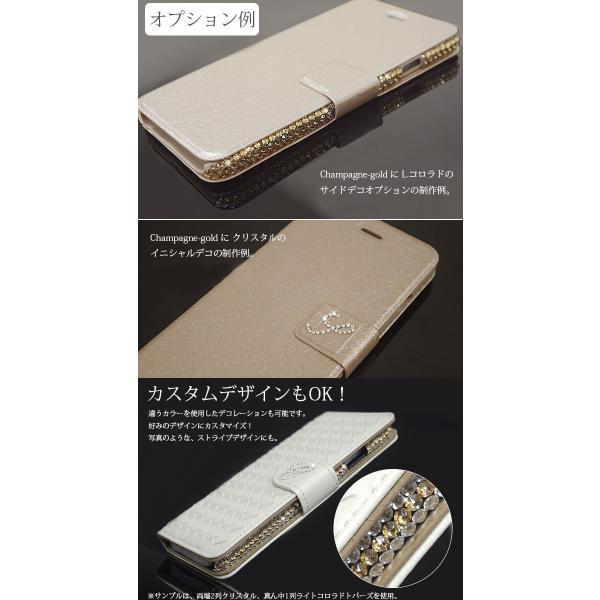 スワロフスキー イニシャル 名入れ サイド デコ カスタム スマホケース iphone 7 7 plus 6s 5s SE Xperia xz X ギャラクシー エクスペリア 手帳型 ケース|swasuwa|05