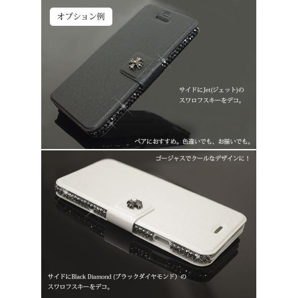 スワロフスキー イニシャル 名入れ サイド デコ カスタム スマホケース iphone 7 7 plus 6s 5s SE Xperia xz X ギャラクシー エクスペリア 手帳型 ケース|swasuwa|06