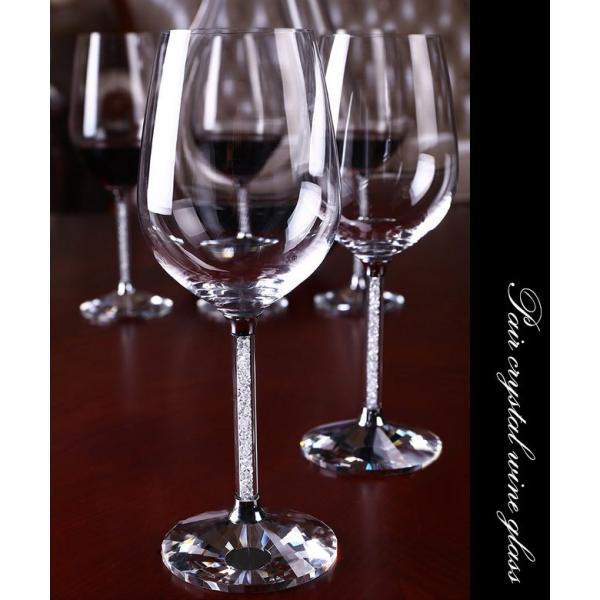 スワロフスキー 名入れ ワイングラス ペア グラス プレゼント ラインストーン クリア 結婚祝い キラキラ デコ xm|swasuwa|02