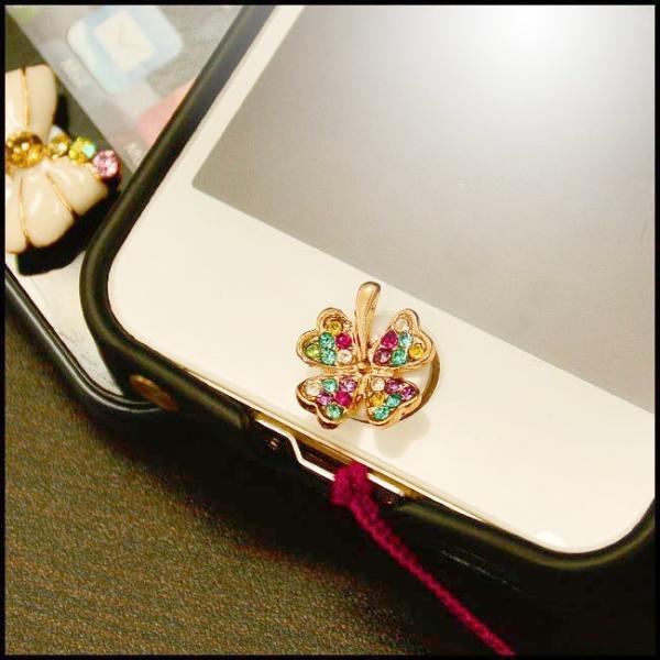 iphone6 6s iphone5 iphone5s ホームボタンシール 四葉 クローバー キラキラ ラインストーン 花 ipad air mini retina ipod touch かわいい 人気 swasuwa 04