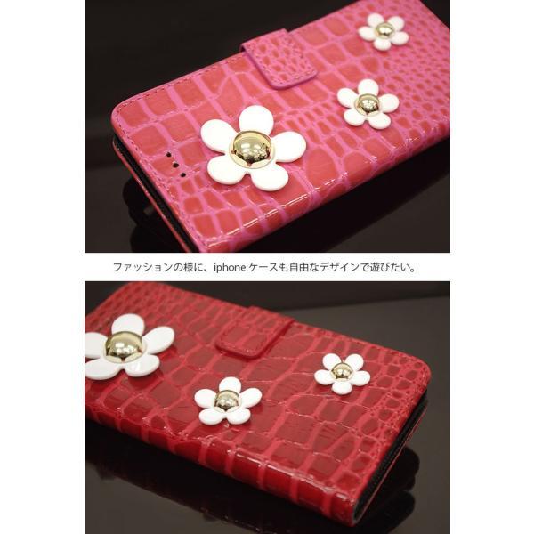 iPhone 11 Pro Xs Max XR 8 7 6s plus SE Xperia XZ1 XZ2 Galaxy S9 S10Plus ケース カバー 手帳型 カメリア クロコ レザー 調 ブランド 人気 花柄 fl swasuwa 03