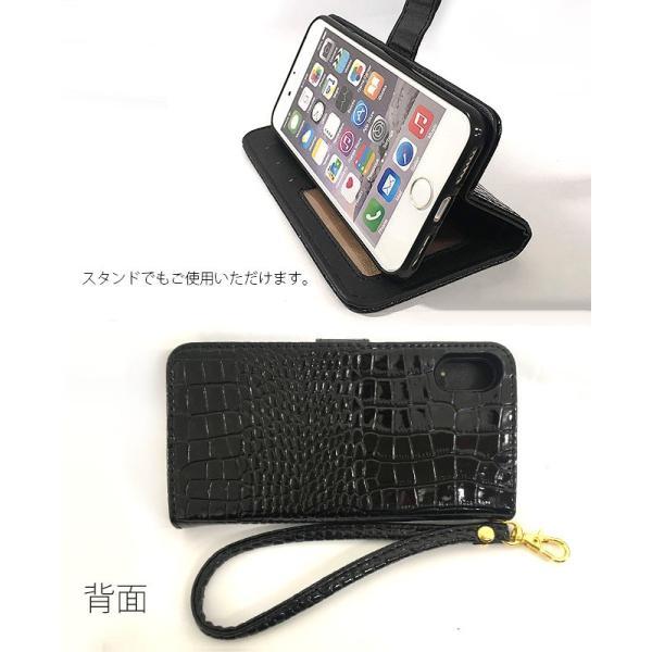 スワロフスキー 手帳型 クロコダイル レザー iPhone 11 Pro XS Max XR 8 7 6s Plus SE Galaxy S10 S9 Xperia XZ2 XZ1 ケース 鰐柄 イニシャル fl|swasuwa|06