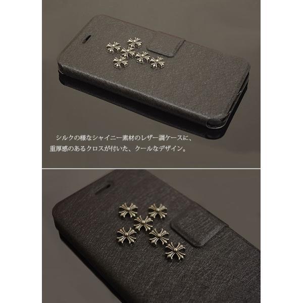 Galaxy S10 S9 S8 Plus S7 edge ケース ビック クロスレザー 風 手帳ケース 十字架 ギャラクシーS7エッジ S8+ カバー スタッズ ブラック ポスト便200円OK fl|swasuwa|03