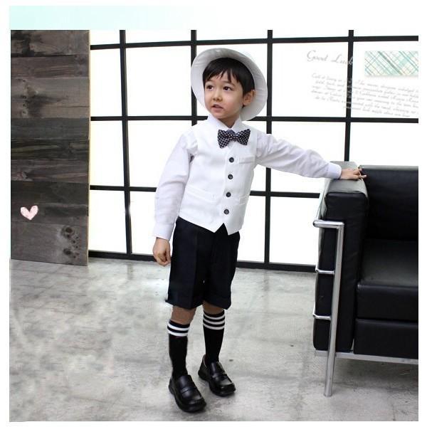 01f6b940c659a 男の子 フォーマル 結婚式 子供スーツ 七五三 5点セット 半ズボン シャツ  ...