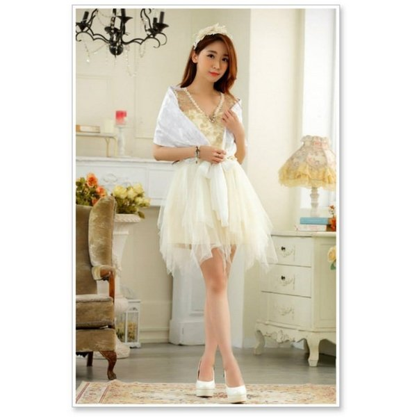 ウェディングドレス ショート ミニ ロング パーティードレス ドレス 結婚式 二次会 花嫁 大きいサイズ マタニティー 白 ホワイト ワンピース ブライズメイド|sweet-bell|04