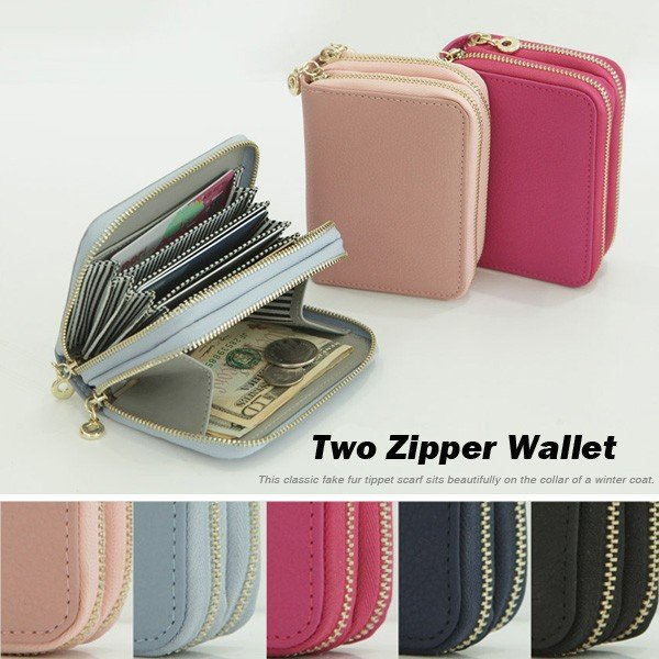 984c4320fb45 ダブルファスナーミニウォレット レディースカードケース 本革 ミニ財布 カード財布 ...