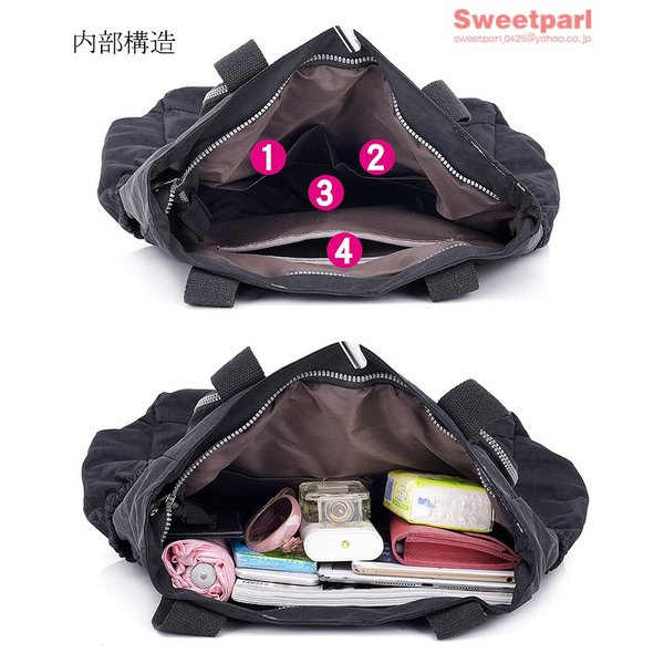 トートバッグ レディース カバン 軽いバッグ ナイロンバッグ 通勤トート ナイロントートバッグ かばん 鞄 大容量 軽量 撥水|sweetparl|08