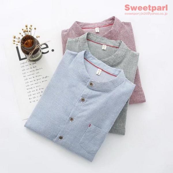 レディース シャツ スタンドカラー ストライプシャツ カジュアルシャツ トップス 長袖 ストライプ柄 ゆったり|sweetparl|02