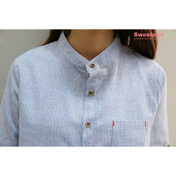 レディース シャツ スタンドカラー ストライプシャツ カジュアルシャツ トップス 長袖 ストライプ柄 ゆったり|sweetparl|14