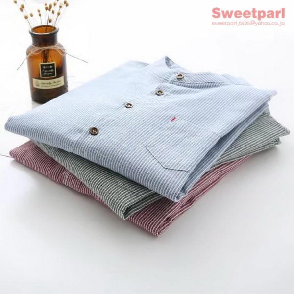 レディース シャツ スタンドカラー ストライプシャツ カジュアルシャツ トップス 長袖 ストライプ柄 ゆったり|sweetparl|04