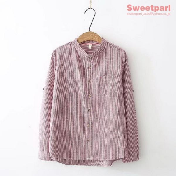 レディース シャツ スタンドカラー ストライプシャツ カジュアルシャツ トップス 長袖 ストライプ柄 ゆったり|sweetparl|05