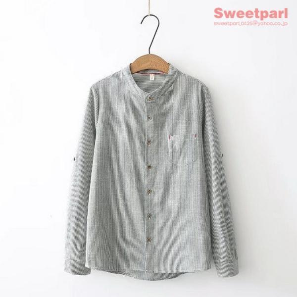 レディース シャツ スタンドカラー ストライプシャツ カジュアルシャツ トップス 長袖 ストライプ柄 ゆったり|sweetparl|06