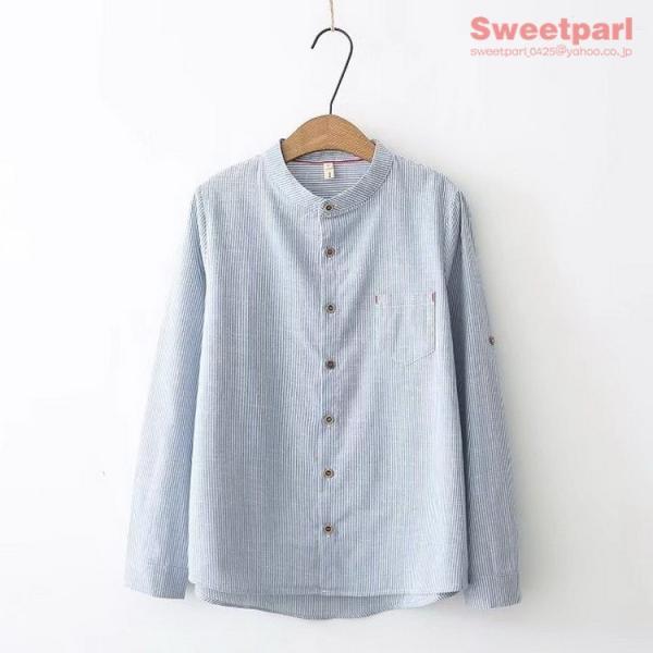 レディース シャツ スタンドカラー ストライプシャツ カジュアルシャツ トップス 長袖 ストライプ柄 ゆったり|sweetparl|07