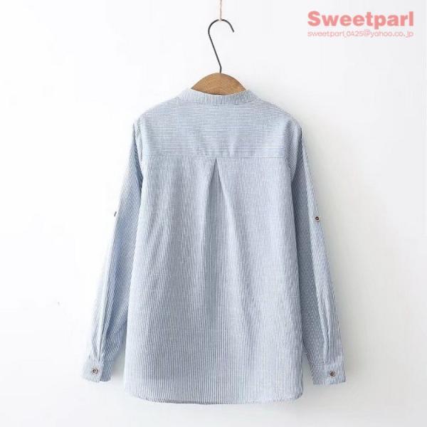 レディース シャツ スタンドカラー ストライプシャツ カジュアルシャツ トップス 長袖 ストライプ柄 ゆったり|sweetparl|08