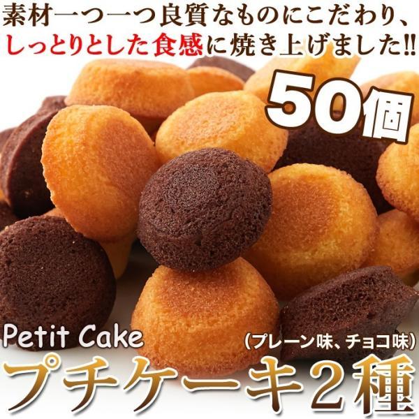 フランス産発酵バター使用 プチケーキ 2種 プレーン味 チョコ味 50個 お菓子 個包装 一口サイズ