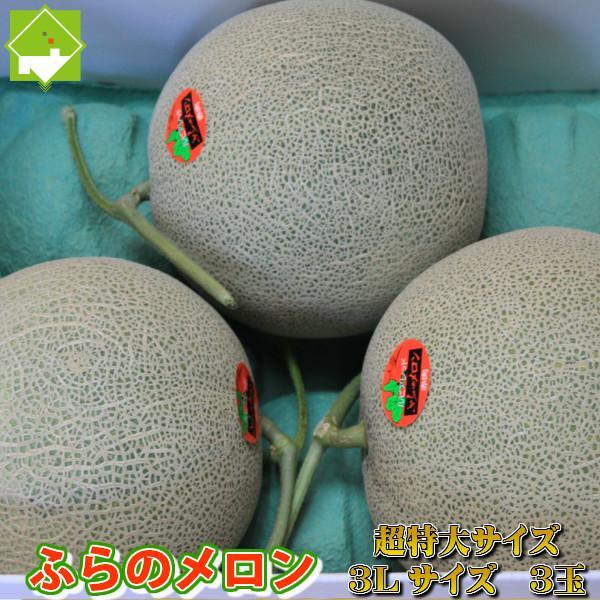 メロン ふらのメロン 北海道富良野産 赤肉メロン 特大 3Lサイズ 3玉入り 送料無料