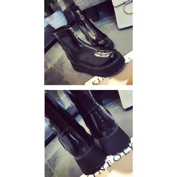 レディースシューズ ブーツ ミドル ショート 厚底 ジップ (bo-407)