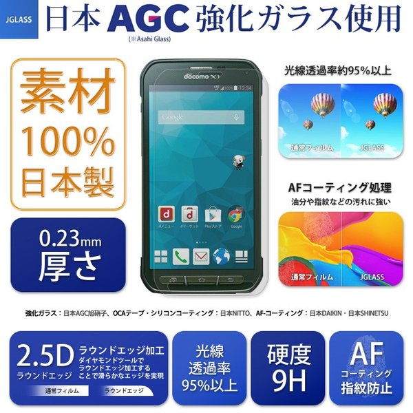 Galaxy S5 Active 強化ガラスフィルム SC-02G ギャラクシーアクティブ 液晶保護フィルム 気泡防止 指紋防止 硬度9H 0.23mm JGLASS|sy-store
