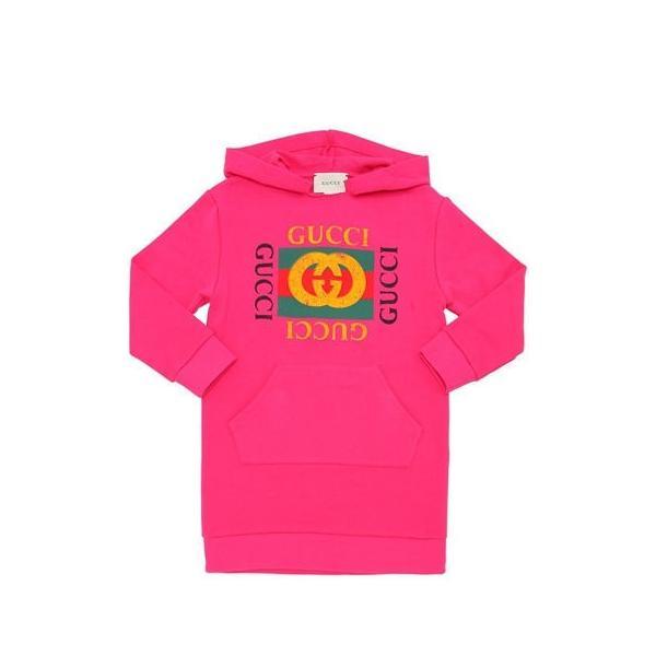competitive price 04bc9 63517 GUCCI グッチ ロゴ キッズ スウェット フードドレス パーカー トレーナー ピンク