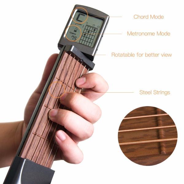 ポータブル ポケット 練習用 弦つき アコースティックギター 液晶画面 コード表示つき|synergy2|08