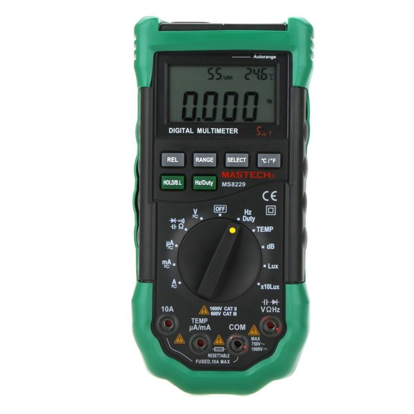 MASTECH MS8229 オートレンジデジタルマルチメーター( 温度計/湿度計/騒音計/照度計付)|synergy2