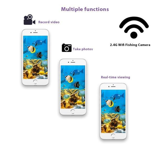 ワイヤレス Wi-Fi 水中魚群探知カメラ フィッシュファインダー   200m iOS Android対応 1000TVL 140°広角レンズ|synergy2|11