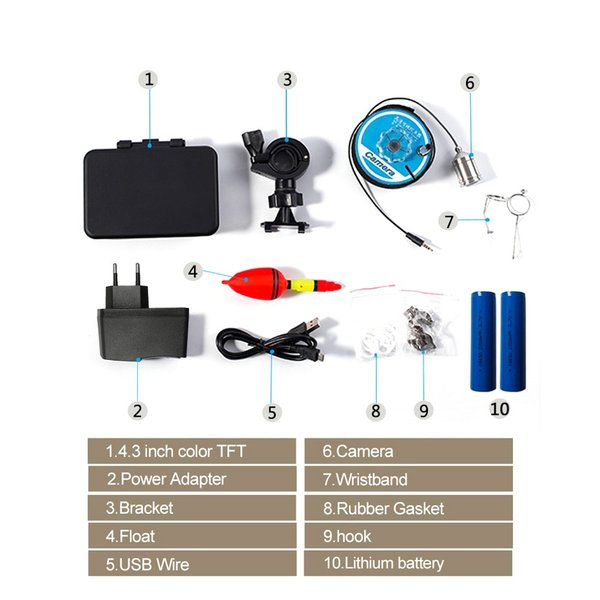 フィッシュファインダー 水中ビ デオカメラ 1000 TVライン 4.3インチ 液晶モニター 15m ケーブル 赤外線 LEDライト x 8|synergy2|12