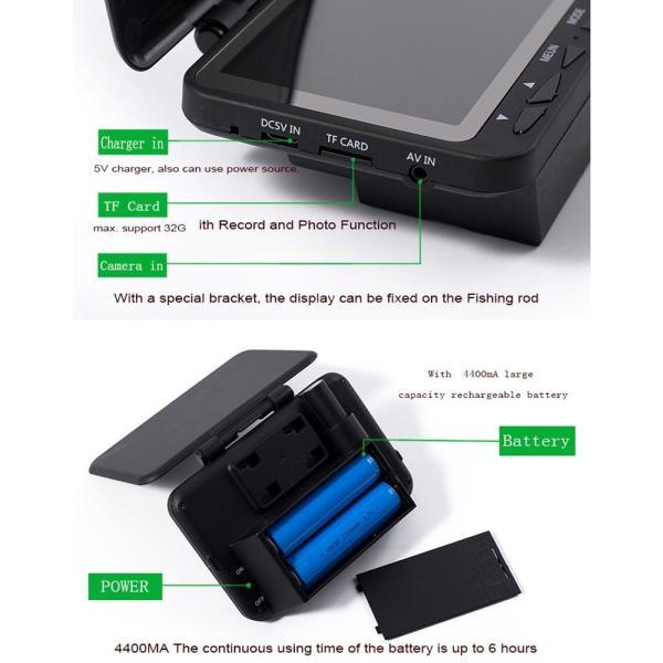フィッシュファインダー 水中ビ デオカメラ 1000 TVライン 4.3インチ 液晶モニター 15m ケーブル 赤外線 LEDライト x 8|synergy2|07