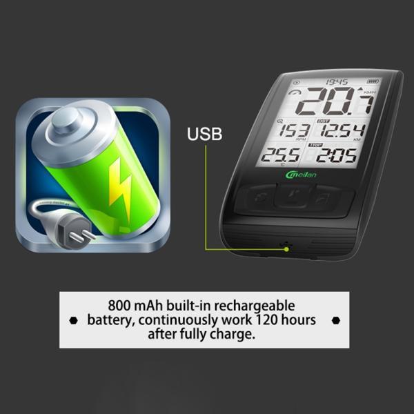 Bluetooth ワイヤレスサイクルコンピューター IPX5防水 2.5インチ液晶ディスプレイ|synergy2|09