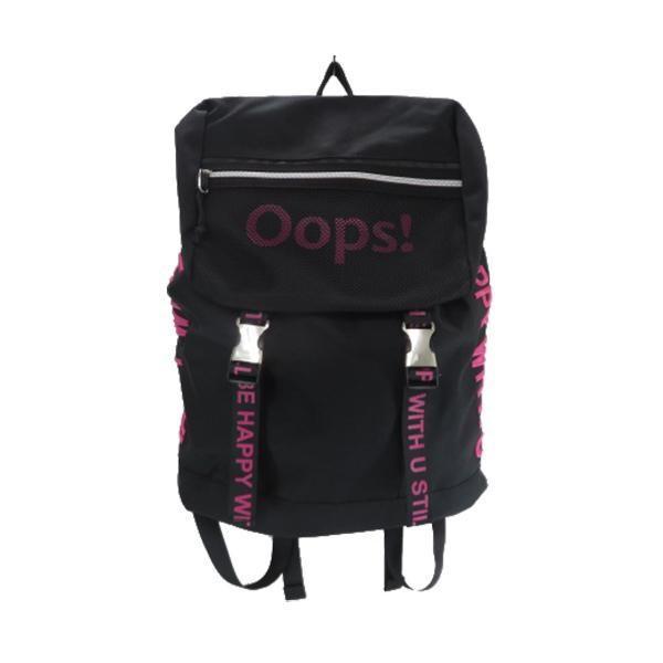Oops!サイド刺繍リュック ブラック×ピンク UK-9807BK/PK