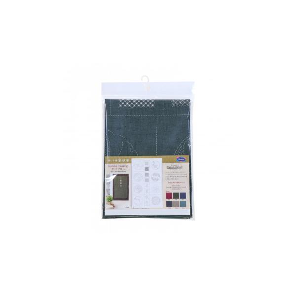 オリムパス 刺し子紬 第2弾 家紋柄 カット布 水色 CT-D2506