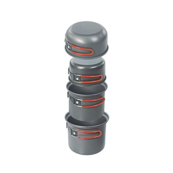 クッカー 4個セット 鍋 飯ごう フライパン グレー 収納時:W14.5 D14.5 H17.5cm アルミ アウトドア クッカー セット 4P