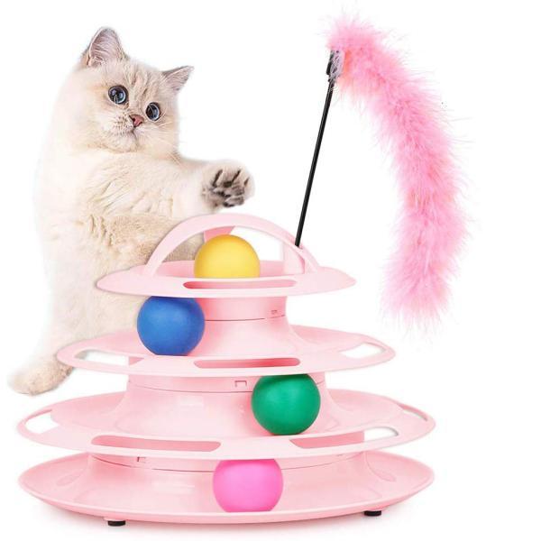 猫 おもちゃ 猫 ボール 回転 くるくる タワー ストレス 解消 4段 猫じゃらし付き ピンク 送料無料